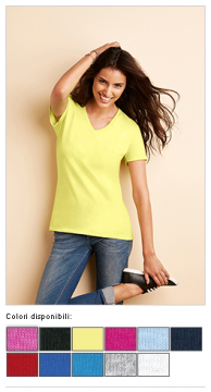 T-shirt donna Cotton Premium con scollo a V 14409
